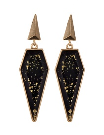 Fashion Black Geometric Shape Design Long Earrings