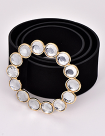 Fashion Black Round Shape Diamond Decorated Waistband