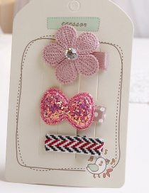 Lovely Pink Bowknot&flower Decorated Hair Clip(3pcs)