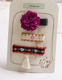 Lovely Red+purple Flowers&tassel Decorated Hair Clip(3pcs)