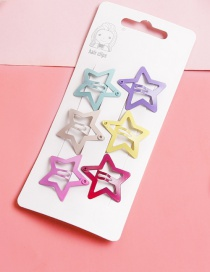 Lovely Muti-color Star Shape Design Color Matching Hairpin(6pcs)