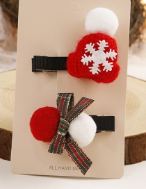 Lovely Red+white Christmas Hat&bowknot Decorated Hairpin(2pcs)