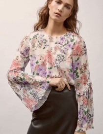Fashion Multi-color Flowers Pattern Decorated Shirt
