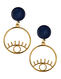 Fashion Gold Color Eye Shape Design Hollow Out Earrings