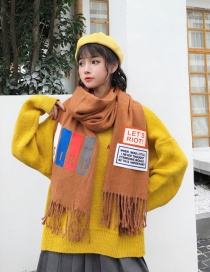 Fashion Yellow Tassel Decorated Thicken Long Scarf
