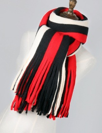 Fashion Red+black Stripe Pattern Decorated Tassel Scarf