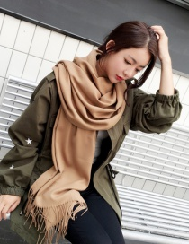 Fashion Brown Tassel Decorated Pure Color Scarf