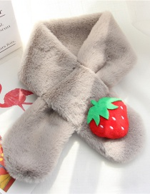 Fashion Gray Strawberry Shape Decorated Child Scarf