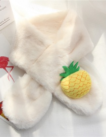 Fashion Milky White Pineapple Shape Decorated Child Scarf