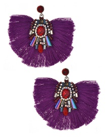 Fashion Purple Diamond&tassel Decorated Earrings