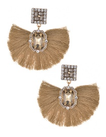 Fashion Khaki Square Shape Diamond Design Tassel Earrings