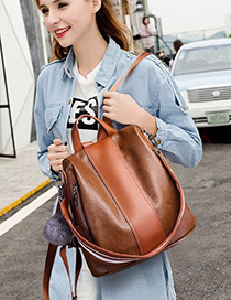 Trendy Brown Fuzzy Ball Decorated Backpack With Pendant