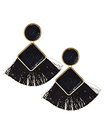 Elegant Black Geometric Shape Design Tassel Earrings