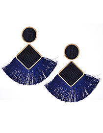 Elegant Sapphire Blue Geometric Shape Design Tassel Earrings
