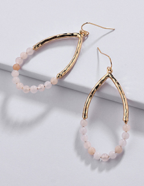Fashion Light Pink Waterdrop Shape Decorated Earrings