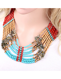 Fashion Multi-color Multi-layer Design Color-matching Necklace