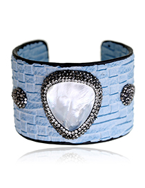 Fashion Blue Diamond Decorated Opening Bracelet