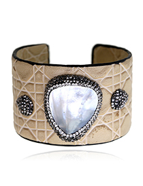 Fashion Beige Diamond Decorated Opening Bracelet