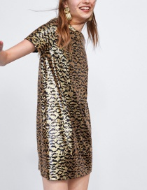 Fashion Gold Color Leopard Pattern Decorated Dress