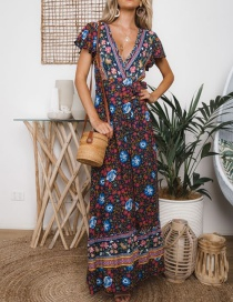 Fashion Multi-color V Neckline Design Flower Pattern Dress
