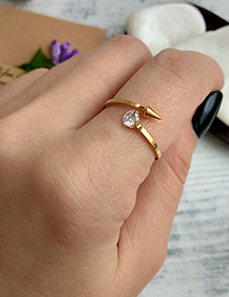 Fashion Gold Color Diamond Decorated Opening Ring