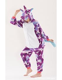 Fashion Purple Horse Pattern Decorated Unicorn Pajamas