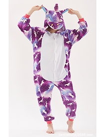 Fashion Purple Horse Pattern Decorated Unicorn Pajamas