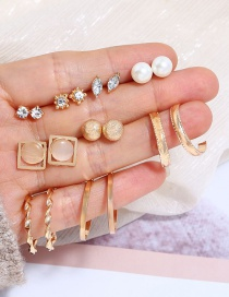 Fashion Gold Color Round Shape Decorated Earrings(9pairs)