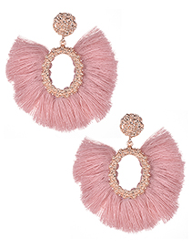 Fashion Pink Oval Shape Decorated Tassel Earrings