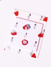 Fashion White Strawberry Pattern Decorated Post-it Note(30 Sheets)