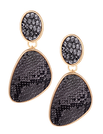 Fashion Silver Color Snake Skin Pattern Decorated Earrings
