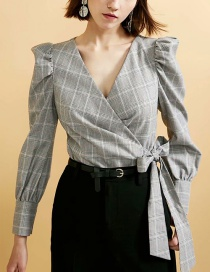 Fashion Gray Grid Pattern Decorated Coat