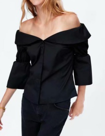 Fashion Black Off Shoulder Design Pure Color Shirt