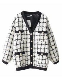 Fashion White Grid Pattern Decorated Coat