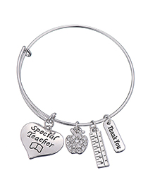 Simple Silver Color Letter Pattern Decorated Bracelet