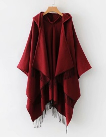 Fashion Claret Red Tassel Decorated Pure Color Shawl