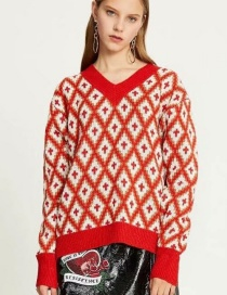 Fashion Red Rhombus Pattern Decorated Sweater