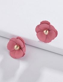 Fashion Dark Pink Flower Shape Decorated Earrings