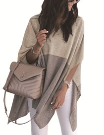 Fashion Gray+beige V Neckline Design Color Matching Sweater