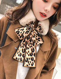 Fashion Coffee+apricot Leopard Pattern Decorated Dual-use Scarf