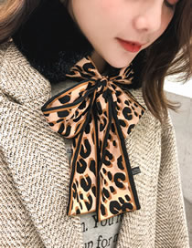 Fashion Coffee+black Leopard Pattern Decorated Dual-use Scarf