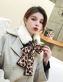 Fashion Coffee+beige Leopard Pattern Decorated Dual-use Scarf