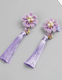 Fashion Purple Flower Shape Decorated Tassel Hair Clip (2 Pcs )
