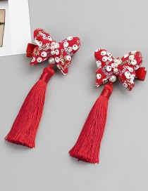 Fashion Red Butterfly Shape Decorated Hair Clip (2 Pcs )