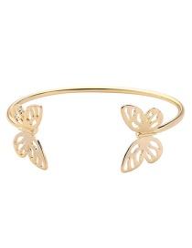 Fashion Gold Color Butterfly Shape Design Pure Color Bracelet