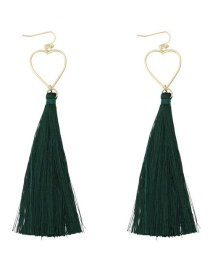 Fashion Green Heart Shape Decorated Tassel Earrings