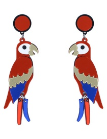Fashion Red Bird Shape Decorated Earrings