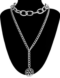 Fashion Silver Color Hollow Out Design Pure Color Necklace