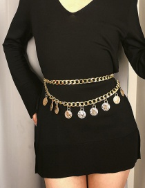 Fashion Gold Color Pure Color Decorated Waist Chain