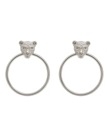 Fashion Silver Color Tiger Shape Decorated Earrings